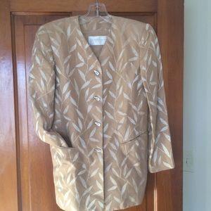 Dana Buchman Petite Tan Metallic Leaf Print Blazer